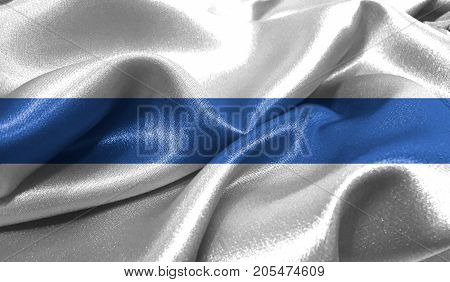 Realistic flag of Altai Republic on the wavy surface of fabric. This flag can be used in design