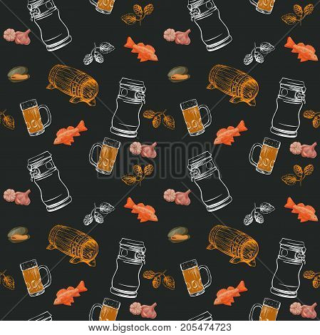 Beer seamless pattern  in sketch hand drawn style on chalkboard including bottles, glasses, growler, pint, hop, fish, shrimp, seafood, for poster or banner, menu