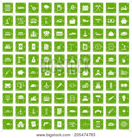 100 plant icons set in grunge style green color isolated on white background vector illustration