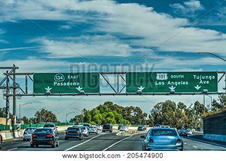 Traffic in 101 freeway Los Angeles. California USA