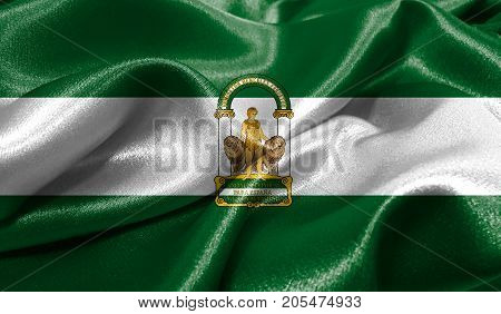 Realistic flag of Andalusia on the wavy surface of fabric. This flag can be used in design