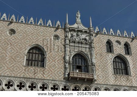 Venice, Italy - September 23, 2011: Fragment of  beauty Doge's Palace at San Marco square or piazza, Venezia, Venice, Italy, Europe. Visit in place.