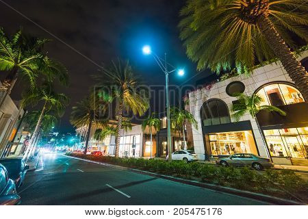 Palm trees in Rodeo Drive Beverly Hills. California USA