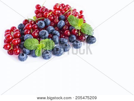 Ripe blueberries and red currants with mint. Berries at border of image with copy space for text. Red and blue berries. Various fresh summer berries on white background.