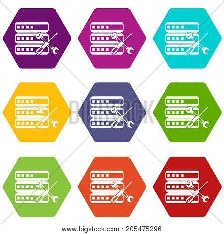 Database with screwdriver and spanner icon set many color hexahedron isolated on white vector illustration