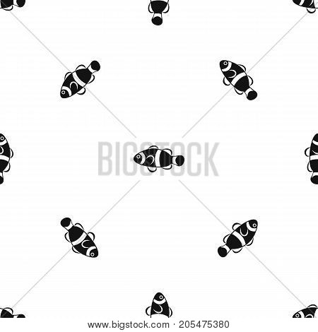 Cute clown fish pattern repeat seamless in black color for any design. Vector geometric illustration