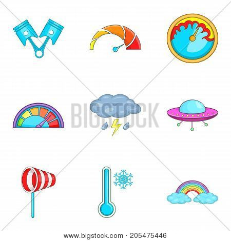 Bad weather icons set. Cartoon set of 9 bad weather vector icons for web isolated on white background