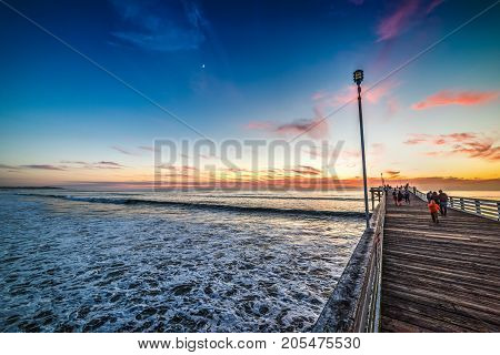 Pacific Beach pier in San Diego at sunset California