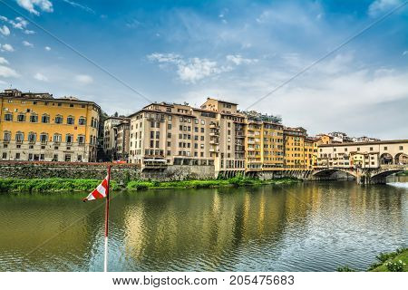 Lungarno by Ponte Vecchio in Florence Italy