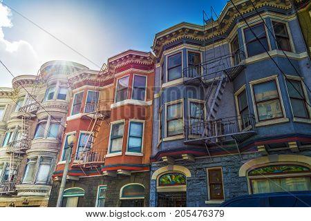 Victorian houses in San Francisco. California USA