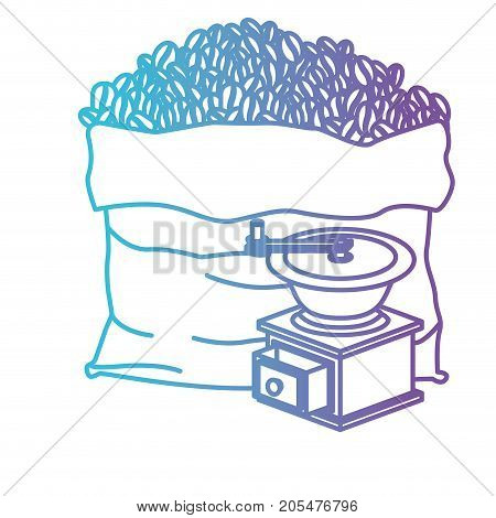 bag of coffee beans and griding with crank gradient color silhouette from blue to purple vector illustration