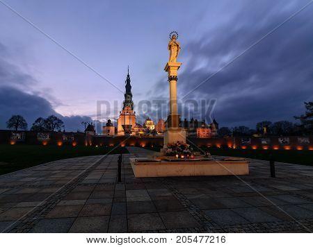 Jasna Gora sanctuary in Czestochowa, Poland in the evening.