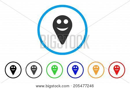 Map Marker Smile Smiley rounded icon. Style is a flat map marker smile smiley grey symbol inside light blue circle with black, gray, green, blue, red, orange variants.