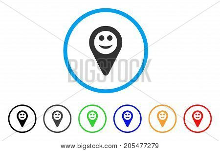 Map Marker Smile rounded icon. Style is a flat map marker smile grey symbol inside light blue circle with black, gray, green, blue, red, orange variants.