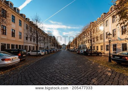 Autumn streets in old town of Dresden in sunset time. Germany. Europe.