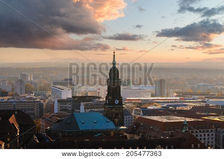 Panorama of the Dresden city skyline at sunset time in Saxony Germany Europe.