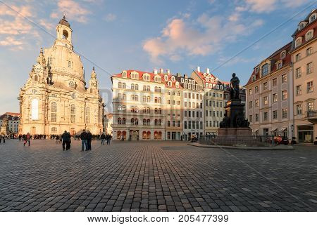 Central square in Dresden Day foto. Germany. Europe.