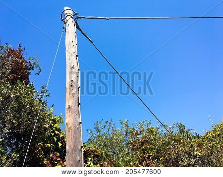 Old wood pole with electric wires. wire pole inside road on countryside with blue sky