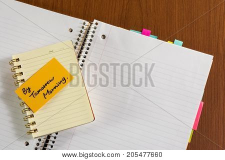 By Tomorrow Morning; White Blank Documents With Small Message Card.
