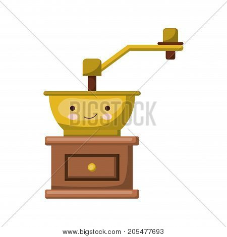 coffee grinding with crank in front view colorful kawaii silhouette vector illustration