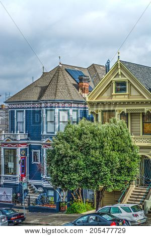 San Francisco USA - October 30 2016: World famous painted ladies under clouds