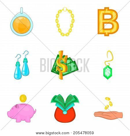 Rich surroundings icons set. Cartoon set of 9 rich surroundings vector icons for web isolated on white background