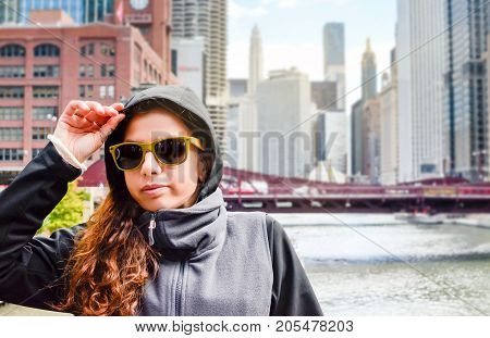Female Traveler Exploring Streets Of Chicago