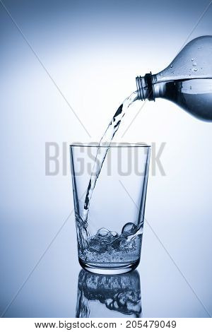 Pouring mineral water into a glass with reflection
