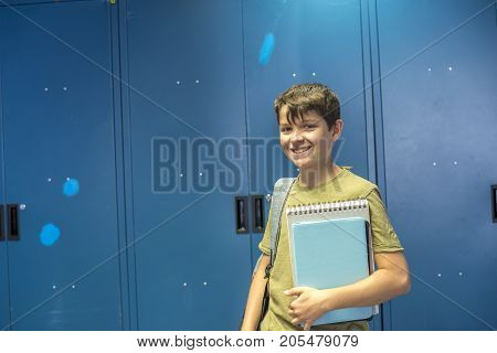 Student And Blue School Lockers