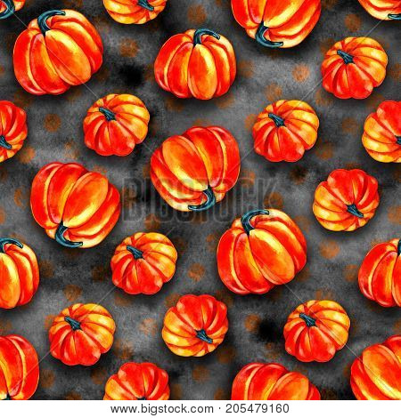 pumpkin pattern fresh watercolor bright seamless illustration
