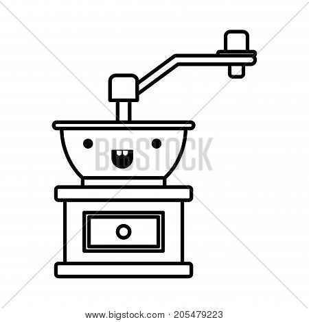 coffee grinding with crank in front view monochrome kawaii silhouette vector illustration