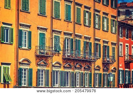 Colorful facades in Pisa Lungarno. Tuscany Italy