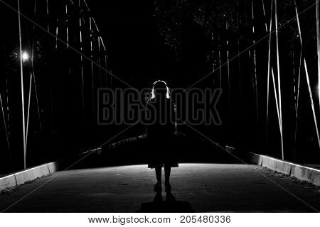 silhouette of dark girl on a bridge
