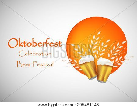 illustration of beer mugs with Oktoberfest Celebration Beer Festival text on the occasion of beer festival Oktoberfest