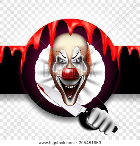 The inscription is Halloween, with a terrible evil clown. A killer with a knife in his blood. Vector illustration on a transparent background