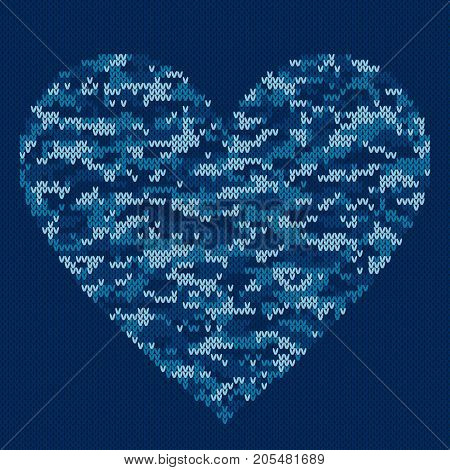 Knitted Heart in Camouflage Pattern Style. Seamless Knitting Texture Imitation with Shades of Blue Colors. Knit Sweater Design