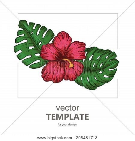 Tropical background with tropical leaves and flowers. Exotic Vector party flyer design.