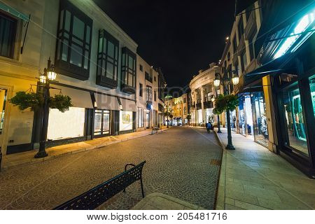 Rodeo Drive by night Beverly Hills. California USA
