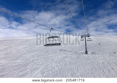 Off-piste Ski Slope And Chair-lift On Ski Resort