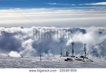View On Ski Resort With Station Of Ropeway