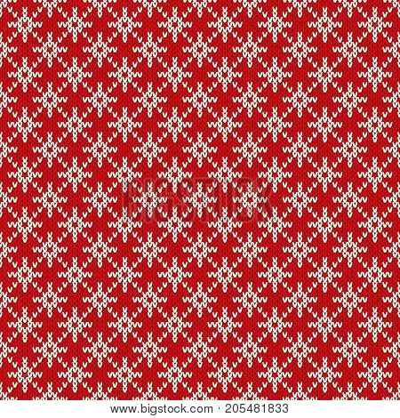 Winter Holiday Seamless Knitted Pattern with a Snowflakes. Knitting Sweater Design. Wool Knitted Texture