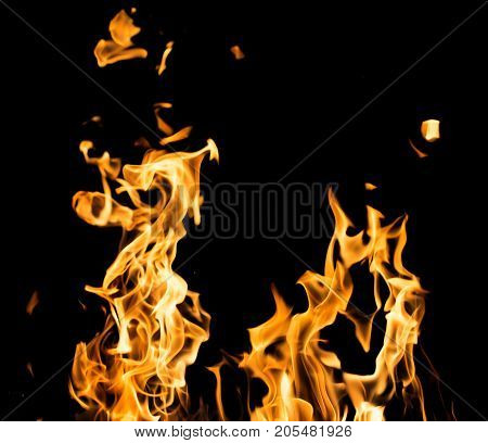 fire on a black background . Photo of an abstract texture