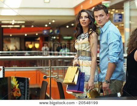 Beautiful couple on shopping trip
