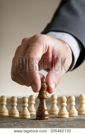 Human Hand Moving Queen Chess Figure