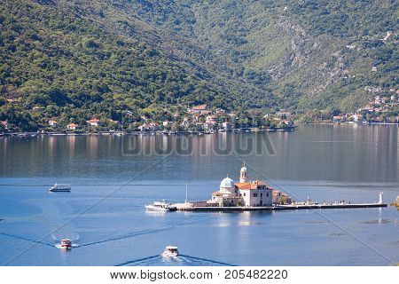 Church on the island Gospa od Skrpjela in Perast, Montenegro