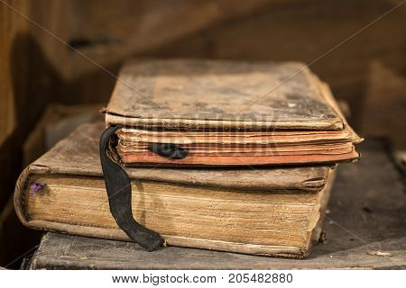 Very old deteriorated books 16th century, vintage composition