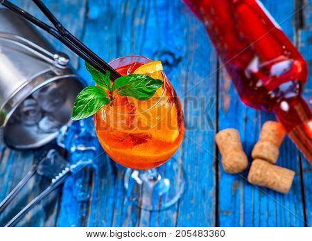 Spritz Aperol Cocktail In Wine Glass On Rustic Wooden Background