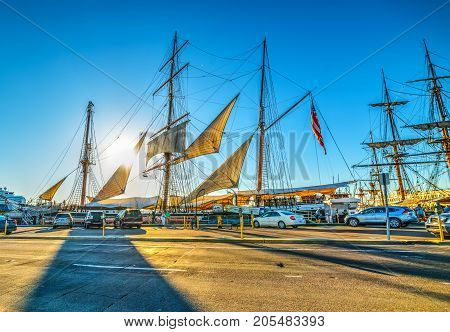 Sailing ship in San Diego seafront. California USA