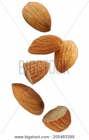 Falling almond nut isolated on white background with clipping path as package design element.
