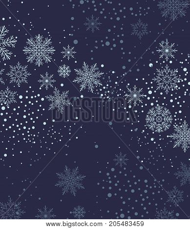 Vector illustration of falling snowflakes. Christmas background with snow
